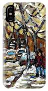 Verdun Winter Row Houses In January Montreal Paintings Time For A Walk Carole Spandau IPhone Case