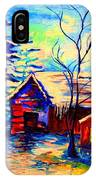 Vermont Winterscene In Blues By Montreal Streetscene Artist Carole Spandau IPhone Case