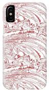 Vertical Panoramic Grunge Etching Burgundy Color IPhone Case