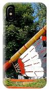 Very Large Pipestone Pipe Sculpture By Former Rock Island Line Railroad Depot In Pipestone-minnesota IPhone Case