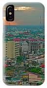 View Of Sun Setting Over Bangkok Buildings From Grand China Princess Hotel In Bangkok-thailand IPhone Case