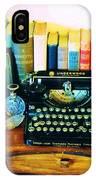 Vintage Books And Typewriter IPhone Case