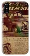 Vintage Car Advertisement 1939 Oldsmobile On Worn Faded Paper IPhone Case