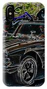 Vintage Chevy Corvette Black Neon Automotive Artwork IPhone Case