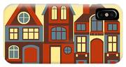 Vintage City Houses On Yellow Background IPhone Case