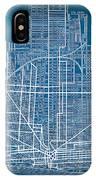Vintage Detroit Rail Concept Street Map Blueprint Plan IPhone Case
