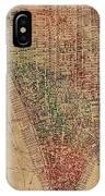 Vintage Manhattan Street Map Watercolor On Worn Canvas IPhone Case