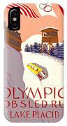 Vintage Poster - Olympics - Lake Placid Bobsled IPhone Case