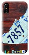 Virginia State License Plate Map Art On Fruitwood Old Dominion IPhone Case