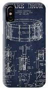 Waechtler Snare Drum Patent Drawing From 1910 - Navy Blue IPhone Case