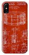 Waechtler Snare Drum Patent Drawing From 1910 - Red IPhone Case