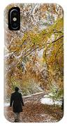 Walking Into Winter - Beautiful Autumnal Trees And The First Snow Of The Year IPhone Case