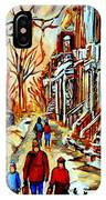 Walking The Dog By Balconville Winter Street Scenes Art Of Montreal City Paintings Carole Spandau IPhone Case