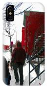Walking The Dog Through Snowy Streets Of Montreal Urban Winter City Scenes Carole Spandau IPhone Case