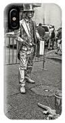 Walking The Gator On Bourbon St. Nola Black And White IPhone Case