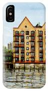 Wapping Thames Police Station And Rebuilt St Johns Wharf London IPhone Case