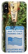 Veteran Parking Sign IPhone Case