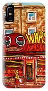 Warshaw's Bargain Fruit Store Rue St Laurent Montreal Paintings City Scene Art Carole Spandau IPhone Case