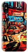 Warshaw's Bargain Fruits Store Montreal Night Scene Jewish Montreal Painting Carole Spandau IPhone Case