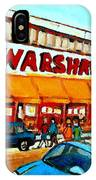 Warshaws Paintings Famous Fruit Store Main Street Montreal Art Prints Originals Commissions Cspandau IPhone Case