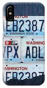 Washington State License Plate Map Art IPhone Case by Design Turnpike
