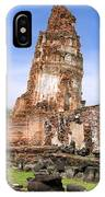 Wat Mahathat Temple In Ayutthaya IPhone Case