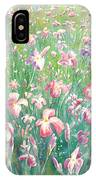 Watercolour Of Pink Iris's In A Green Field IPhone Case