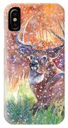 Watercolour Painting Of A Stag In The Snow IPhone Case