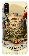 West Virginia Coat Of Arms - 1876 IPhone Case