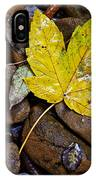 Wet Autumn Leaf On Stones IPhone Case