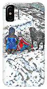 What Fascinates Children And Dogs -  Snow Day - Winter IPhone Case