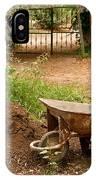 Wheel Barrow Next To Soil Heap IPhone Case