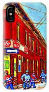 When We Were Young - Hockey Game At Piche's - Montreal Memories Of Goosevillage IPhone Case