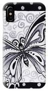 Whimsical Black And White Butterfly Original Painting Decorative Contemporary Art By Madart Studios IPhone Case