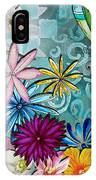 Whimsical Floral Flowers Dragonfly Art Colorful Uplifting Painting By Megan Duncanson IPhone Case