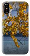 White Birch Tree In Autumn Along The Shore Of Crystal Lake IPhone Case