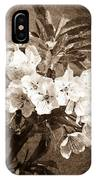 White Blossoms - Sepia IPhone Case