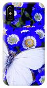 White Butterfly In Blue Flowers IPhone Case