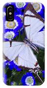 White Butterfly On Blue Cineraria IPhone Case