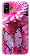 White Butterfly On Pink Gerbera Daisies IPhone Case