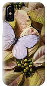 White Butterfly On Poinsettia IPhone Case