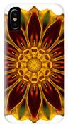 Deep Orange Marigold V Flower Mandala White IPhone Case