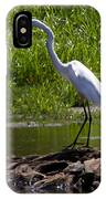White Egret And Snapping Turtles IPhone Case