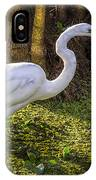 White Egret On The Hunt IPhone Case