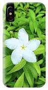 White Flower On Green IPhone Case