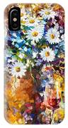 White Flowers - Palette Knife Oil Painting On Canvas By Leonid Afremov IPhone Case