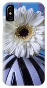 White Mum In Striped Vase IPhone Case
