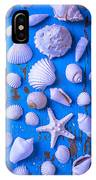 White Sea Shells On Blue Board IPhone Case