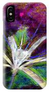 White Spider Flower On Orange And Plum - Vertical IPhone Case