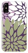 White Violet Green Peony Flowers IPhone Case